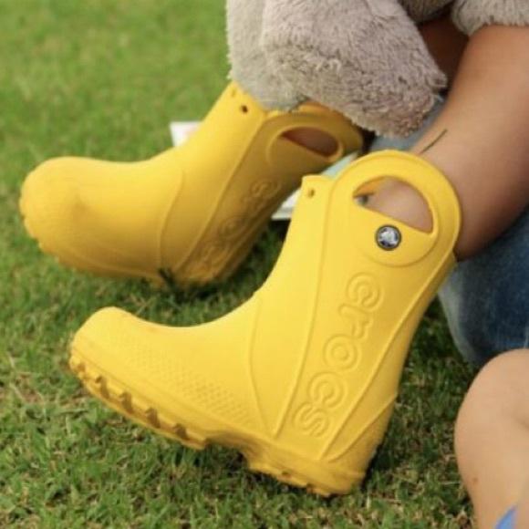 Yellow Croc Rain Boots Unisex 1c | Poshmark